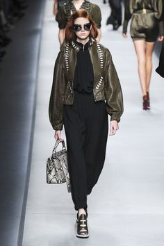 At this point, the things Fendi and Lagerfeld can do with leather and fur shouldn't be a surprise, but it was still a delight to see a fur braided and knitted into a loose coat or an olive leather jacket look just as fluid as the jumpsuit it was paired with.   - HarpersBAZAAR.com