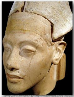 Head of pharaoh Amenhotep IV, (also called Akhenaten) limestone, from Hermopolis (west shore of Amarna) New Kingdom, 18th Egyptian Dynasty, around 1350. Kestner Museum, Hannover, Germany