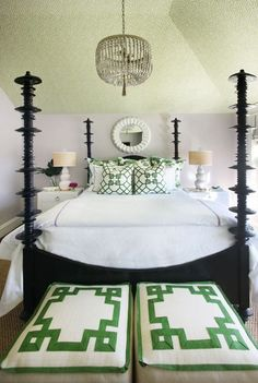 Palm Beach Style Bedroom in a fabulous Beach House on Long Beach Island featured on Between Naps on the Porch.