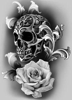 Tattoo Design Idea Metallic Skull Tattoo and White Rose Tattoo Design Idea Metallic Skull Tattoo and White Rose Skull Rose Tattoos, Body Art Tattoos, Sleeve Tattoos, Evil Skull Tattoo, Tattoo Sketches, Tattoo Drawings, Skull Drawings, Tatouage Rock And Roll, Sugar Skull Tattoos