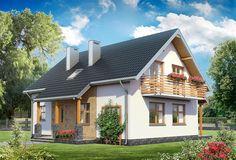projekt Malachit - murowana – beton komórkowy KRD2405 Home Fashion, Cabin, House Design, House Styles, Wooden Houses, Outdoor Decor, Home Decor, Flowers, Malachite