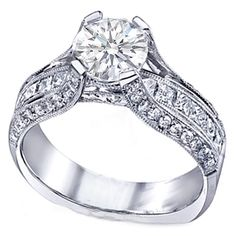 Round Diamond Vintage Bridge Engagement Ring Channel Set Princess Diamonds 1.10 tcw. In 14K White Gold