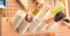 Having just successfully finished my tool shed organization project using PVC pipe, I decided to explore other inspiring uses of PVC and th...