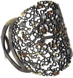 Joanna Laura Constantine Black and Crystal Bronze Cuff Bracelet