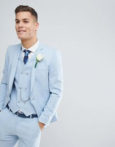 Browse online for the newest ASOS DESIGN wedding skinny suit jacket in soft blue cross hatch with printed lining styles. Shop easier with ASOS' multiple payments and return options (Ts&Cs apply). Cobalt Blue Suit, Blue Suit Brown Shoes, Sky Blue Suit, Bright Blue Suit, Blue Suit Men, Blue Suits, Light Blue Tux, Costume Bleu Ciel, Costume Marie Bleu
