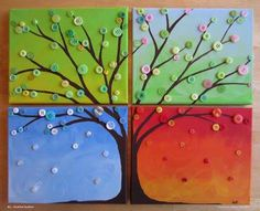 Button art - a seasonal button tree painting.  Could also use jewelry pieces or other crafts.