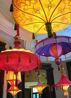 f8af39776da4b5  Huge  silk lanterns made from upcycled umbrellas! Beautiful! Garden  Lanterns