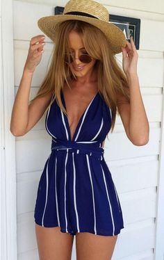 macacao feminino 2015 Women Sleeveless blue white stripe Printing Jumpsuits Hollow Out Casual Jumpsuit rompers womens jumpsuit-in Jumpsuits & Rompers from Women's Clothing & Accessories on Aliexpress.com | Alibaba Group