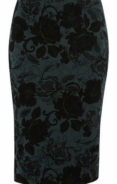 Dorothy Perkins Womens Green and Black Flocked Pencil Skirt- Green and black Pull on style pencil with back vent detailing on green ground with a flocked floral design. 96% Polyester, 4% Elastane. Machine washable. http://www.comparestoreprices.co.uk/skirts/dorothy-perkins-womens-green-and-black-flocked-pencil-skirt-.asp
