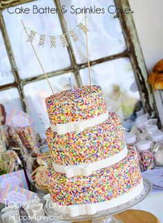 Baby Boy's Cake Batter & Sprinkles Birthday Cake. @nici Kirby - Nathan? Needs to have rainbow sponge inside to make it really bright and fun!