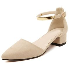 WithChic Beige Suedette Gold Bar Embellished Strap Chunky Heels ($48) ❤ liked on Polyvore featuring shoes, pumps, thick-heel pumps, gold strap pumps, embellished pumps, gold shoes and strappy pumps