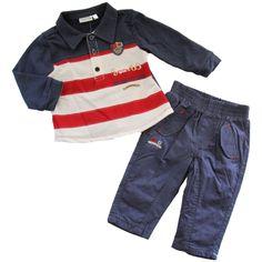 Completo Neonato Polo e Pantalone Mod.Years 63 #babies #baby #babyfashion #stripes