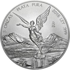 "The 2016 Mexican Libertad 5oz Silver Coin reverse features a portrait of a Winged Victoria in front of a Volcanic Landscape. The obverse of this coin features a sculptural relief design of the National Shield, encompassed by the legend ""ESTADOS UNIDOS MEXICANOS"" (UNITED MEXICAN STATES) surrounded by different national coats of arms used throughout Mexico's history. Each coin weighs 155.5g and is 999.0 Fine Silver. Minted by Casa de Moneda de Mexico. Struck to bullion finish."