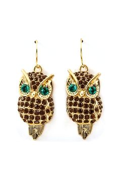 Chocolate Crystal Owl Earrings