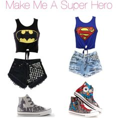 BATMAN AND SUPERMAN by thegirl7206 on Polyvore featuring CO, Levi's and Converse