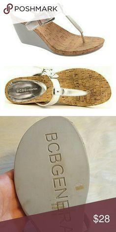 BCBGeneration silver wedges Sliver wedges by BCBGeneration, EUC!! BCBGeneration Shoes Wedges