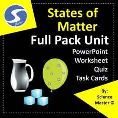 States of Matter Worksheet, Task Cards, Test Prep and PowerPoint Presentation Science Lesson Plans, Science Lessons, Life Science, States Of Matter Worksheet, Matter Worksheets, Science Classroom, Teaching Science, Teaching Resources