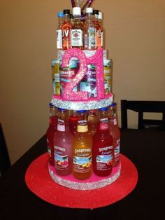 Birthday Gift Ideas for Her Unique Alcohol Birthday Cake Diy – Presents for girls 21st Birthday Presents, 21st Birthday Decorations, Birthday Gift Baskets, 19th Birthday, 21st Gifts, Birthday Diy, Birthday Ideas, Birthday Cakes, Happy Birthday