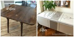 LOVE this before and after using IOD Image Transfer from Front Porch Mercantile Distressed Furniture, Shabby Chic Furniture, Painted Furniture, Furniture Ideas, Furniture Redo, Simply Shabby Chic, Shabby Chic Cottage, Iron Orchid Designs, Leaf Table