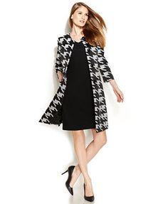 Anne Klein Textured Houndstooth Jacket & V-Neck Sheath Dress