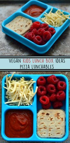 Vegan Cheese Pizza Lunchable - 3 Vegan Kids Lunch Box Ideas - Lunchables - No Cook - Fruit - Easy / Fast - Rich Bitch Cooking Blog