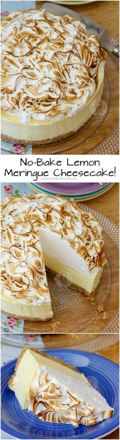 No-Bake Lemon Meringue Cheesecake! ❤️ A Buttery Biscuit Base, Smooth Lemon Cheesecake Filling, and an Italian Meringue make this No-Bake Lemon Meringue Cheesecake the perfect Dessert & Showstopper! No-Bake Lemon Meringue Cheesecake Lemon Desserts, Lemon Recipes, No Bake Desserts, Sweet Recipes, Delicious Desserts, Dessert Recipes, Yummy Food, Meringue Desserts, Meringue Cake