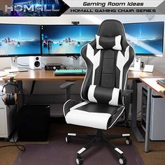 Homall Gaming Chair Office Chair High Back Computer Chair PU Leather Desk Chair PC Racing Executive Ergonomic Adjustable Swivel Task Chair with Headrest and Lumbar Support (White) Pc Gaming Chair, Gaming Computer Desk, High Back Office Chair, Office Chairs, Office Furniture, Office Desk, Leather Swivel Chair, Chair Drawing, Cool Chairs