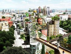 Fusing height, light, density and greenery with regional vernacular architecture, this ambitious urban Sky Walk plan aims toturn the tops of downtown buildings into a extensive series of connected…
