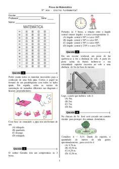 MATEMÁTICA 9° ANO COM GABARITO 240 ATIVIDADES EXERCÍCIOS PROVAS AVALIAÇÕES | PORTAL ESCOLA
