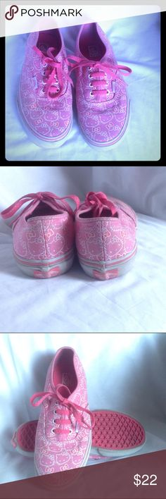 SALE  Hello Kitty lace up Vans size 4Y Very well cared for Vans in pink with Hello Kitty design. Size 4 in youths/kids. Price is firm discount given if you bundle with other item using the bundle feature. Vans Shoes Sneakers