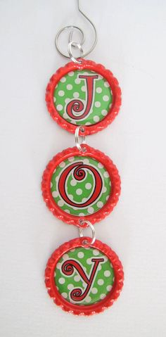 Joy Triple Bottle Cap Christmas Ornament Polka by MommaBCrafts. Get the graphics here: https://www.etsy.com/listing/85318063