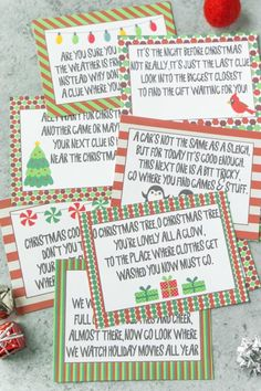 Free printable Christmas scavenger hunt clues for kids or for teens! A fun way to have kids search for presents on Christmas morning! Simply print out the riddles and go! And bonus - some fun Christmas scavenger hunt ideas for adults too! Christmas Riddles, Christmas Weather, Christmas Gift Hunt, Christmas Scavenger Hunt, Christmas Games For Kids, Holiday Games, Christmas Activities, Christmas Countdown, Christmas Traditions