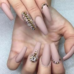 Nude Pink with Rhinestone Design Tapered Square Nails. Pinterest: @PrettyAssRae