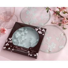 """""""Cherry Blossoms"""" Frosted Glass Coaster"""
