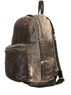 GIORGIO BRATO - CARVED WASHED LEATHER BACKPACK - VINTAGE BROWN