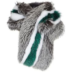 LILLY e VIOLETTA Striped fox fur scarf ($2,900) ❤ liked on Polyvore featuring accessories, scarves, fox fur scarves, multi colored scarves, striped shawl, colorful scarves and fox fur shawl