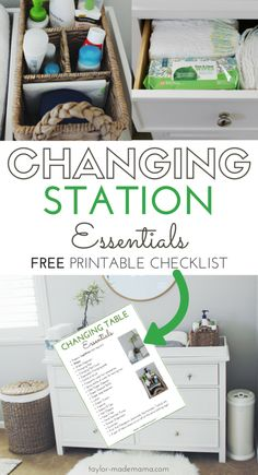 Baby And Toddler Changing Table Must Haves. CLICK THROUGH to read more and access the FREE, printable checklist with everything you need for a toddler or baby changing station! Baby Changing Tables, Diaper Changing Station, Changing Table Dresser, Changing Table Organization, Nursery Organization, Organization Ideas, Organizing, Baby Bathroom, Bathroom Ideas
