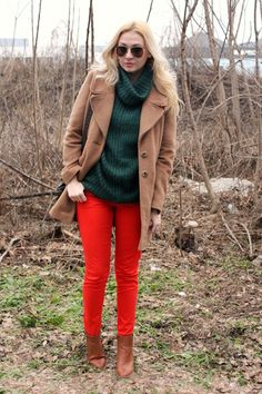 red pants sweaters, colors, jeans, camel coat, coats, boots, bags, fall color, red pants