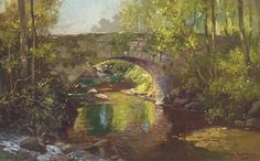A stone bridge over a wooded river by Arthur Spooner
