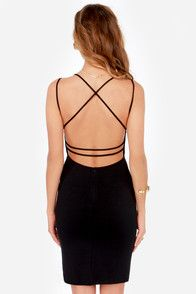 Topping the trends with a sexy, strappy plunging back, a bodycon fit, and a midi-length hem, the Be-All Trend-All Backless Black Midi Dress is everything and more! Triangle-cut bodice is seamed for shape, transitioning into double spaghetti straps that crisscross at back. Medium-weight stretch knit. Hidden back zipper.