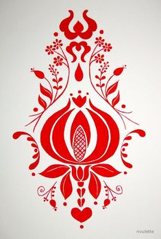Folk Embroidery A Drawing A Day - Day 36 - - red and white folk art motif - gouache: - Hungarian Embroidery, Folk Embroidery, Embroidery Patterns, Stencil, Polish Folk Art, Russian Folk Art, Scandinavian Folk Art, Grenade, Painting Patterns