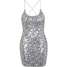 TOPSHOP **Pixie Sequin Slip Dress by WYLDR ($82) ❤ liked on Polyvore featuring dresses, silver, strappy dress, shining dress, sequin embellished dress, sequin slip dress and topshop dresses