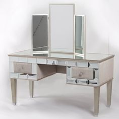 Image of: mirrored vanity table color Mirrored Vanity Desk, Diy Vanity Mirror, Makeup Table Vanity, Glass Vanity, Makeup Tables, Vanity Tables, Dressing Table Glass, Dressing Table Vanity, Dressing Table With Stool