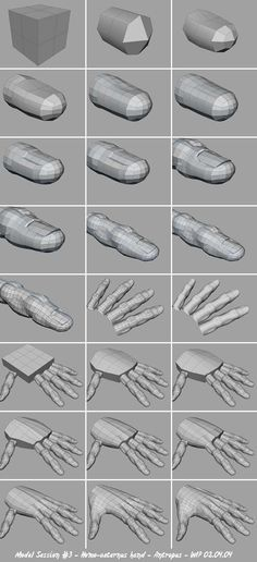 Basic hand modeling before distortions and adjusts. Hand Modeling, Polygon Modeling, Modeling Tips, 3d Model Character, Character Modeling, Character Design, Body Reference Drawing, Drawing Skills, Anatomy For Artists