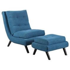 Tufted Blue Scoop Accent Chair & Ottoman - Contempo