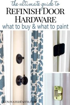 How to Spray Paint Door Knobs that LAST (Refinishing Door Hardware) - - Updating old door hardware makes a huge impact but can be expensive. Instead, spray paint your door knobs with these tips so that last and save you money! Painted Exterior Doors, Exterior Door Hardware, Painted Doors, Black Door Hardware, Gold Hardware, Paint Door Knobs, Bronze Door Knobs, Home Renovation, Pool Bad