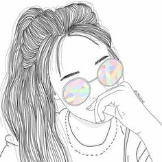 outline, girl, and draw image Tumblr Girl Drawing, Tumblr Sketches, Girl Drawing Sketches, Tumblr Drawings, Cute Girl Drawing, Girly Drawings, Outline Drawings, Drawing Art, Pencil Drawings