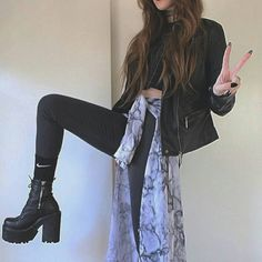 TheLuckyBoy is an independent artist creating amazing designs for great products such as t-shirts, stickers, posters, and phone cases. Grunge Outfits, Rock Outfits, Grunge Fashion, Girl Outfits, Grunge Style, Grunge Girl, Rock Style, Dr. Martens, Hard Rock