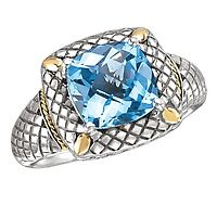 Brilliant and Vibrant Cushion Cut Blue Topaz Ring in Sterling Silver with 18k Yellow Gold Accents!