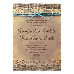 Rustic Country Vintage Burlap Wedding Invitations with a Teal Turquoise Twine Bow (printed design) #wedding #zazzle http://www.zazzle.com/rustic_country_vintage_burlap_wedding_invitations-161394923527533543?rf=238133515809110851